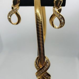 Gold Tone Necklace & Earring Set by Avon